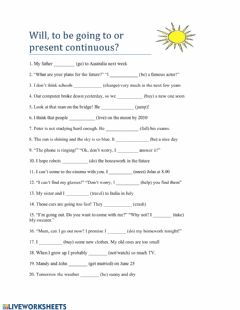 Interactive worksheet Going to-will-present continuous