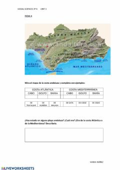 Interactive worksheet Paisaje de costa andaluza