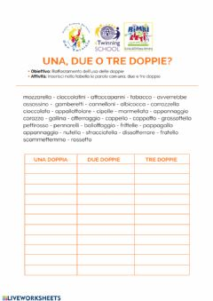 Interactive worksheet Le doppie
