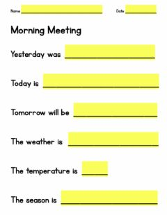 Ficha interactiva Morning Meeting Worksheet
