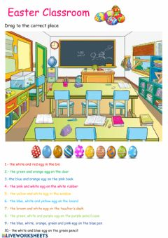 Interactive worksheet Easter eggs in the classroom