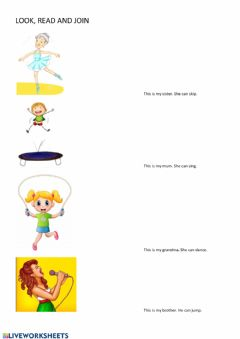 Interactive worksheet join family actions