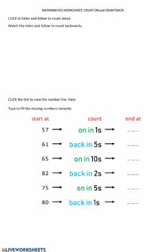 Interactive worksheet Worksheet 6 COUNT ON and COUNT BACK