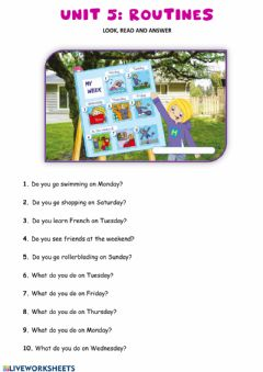 Ficha interactiva UNIT5: Routines questions