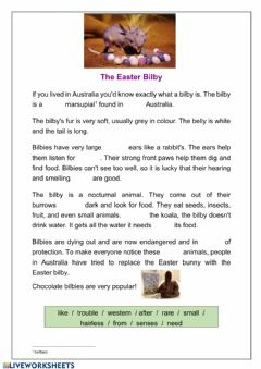 Ficha interactiva Easter - reading