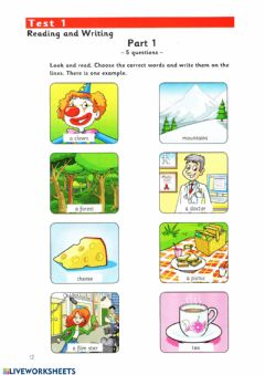 Interactive worksheet Movers reading and writing parts 1-3