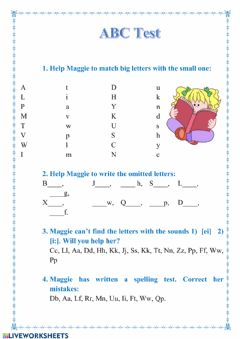 Interactive worksheet ABC Test