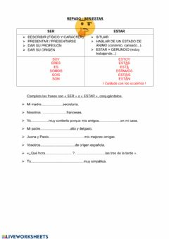 Interactive worksheet Ser y Estar