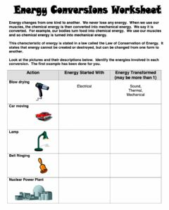 Interactive worksheet Energy conversions