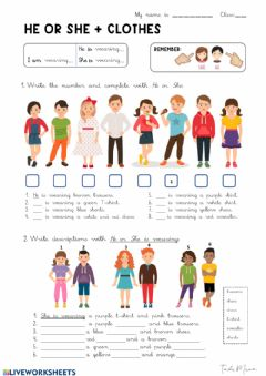 Interactive worksheet HE or she + CLOTHES