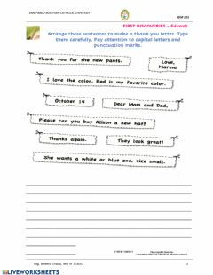 Interactive worksheet Writing a Thank-You Note