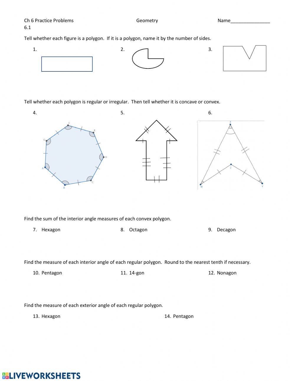 Polygons And Quadrilaterals Worksheet