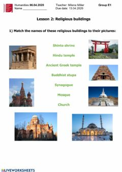 Interactive worksheet Religious buildings