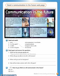 Interactive worksheet Communication in the future