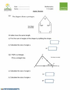 Interactive worksheet Calculating Angles
