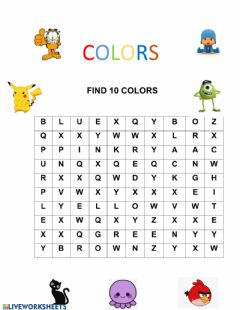 Interactive worksheet Colores