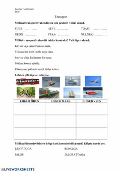 Interactive worksheet Transport