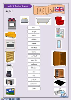 Interactive worksheet Furniture