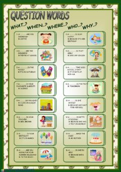 Interactive worksheet Wh words