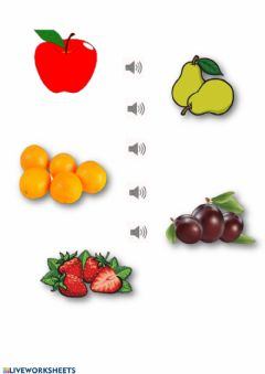 Interactive worksheet Fruits and numbers