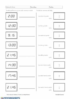 Interactive worksheet Identifica la hora 3