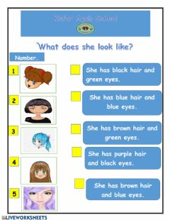 Interactive worksheet What does she look like