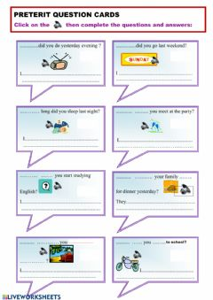 Interactive worksheet Preterit questions cards