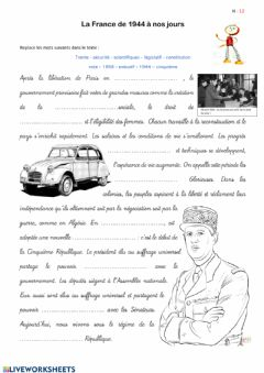 Interactive worksheet La France de 1944 à nos jours
