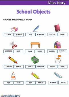 Interactive worksheet School Objects 3