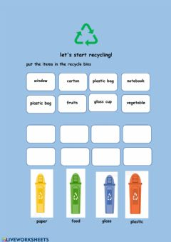 Interactive worksheet Recycling worksheet activity