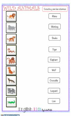 Interactive worksheet Wild animals