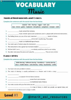 Interactive worksheet Vocabulary - Music