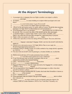 Interactive worksheet At the Airport Terminology