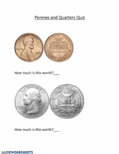 Interactive worksheet Penny & Quarter Quiz 1