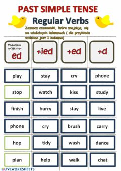 Interactive worksheet Past Simple regular Verbs