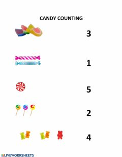Interactive worksheet Counting Candy