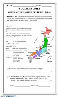 Interactive worksheet PEOPLE from OTHER NATIONS - Japan
