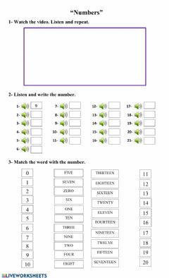 Ficha interactiva Numbers from 0 to 20