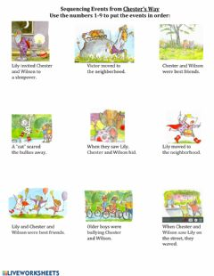 Interactive worksheet Sequencing Events from Chester's Way