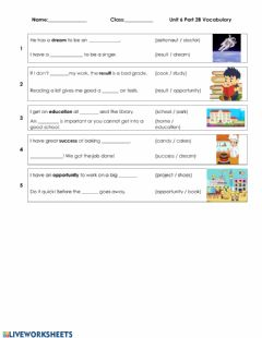 Interactive worksheet Unit 6 part 2 vocabulary