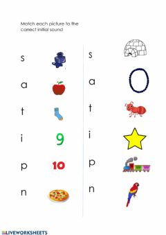 Ficha interactiva Phonics: Group 1 Initial sounds