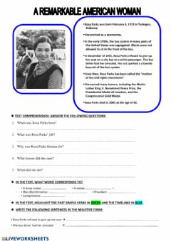 Interactive worksheet Rosa Parks Text comprehension