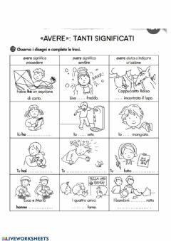 Interactive worksheet Verbo Avere