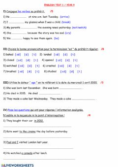 Interactive worksheet Simple Past Test