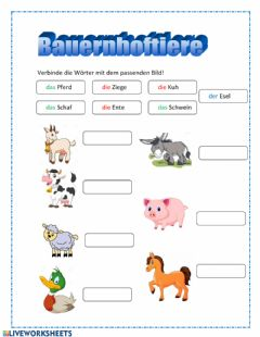 Interactive worksheet Bauernhoftiere