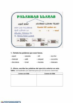 Interactive worksheet Palabras llanas 3º