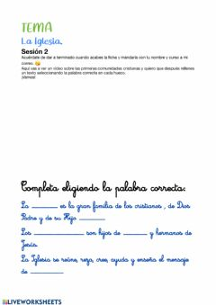Interactive worksheet La iglesia