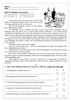 Interactive worksheet Hamburgers