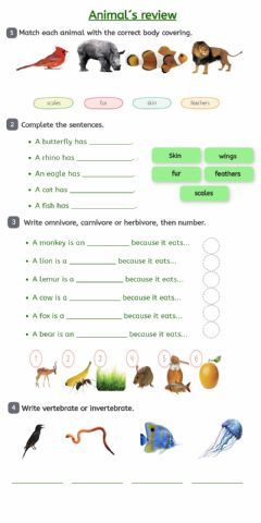 Interactive worksheet Vertebrates, parts of the body and feeding of animals