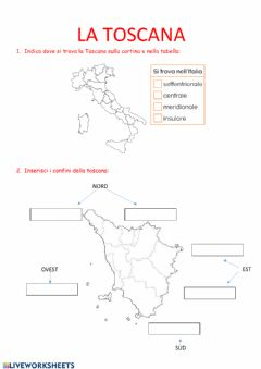 Interactive worksheet La regione Toscana